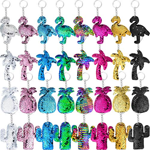 32 Pieces Flip Sequin Keychains Glitter Sequins Key Rings with Flamingo Cactus Coconut Tree Pineapple Design for Hawaii Party Supplies, 8 Colors