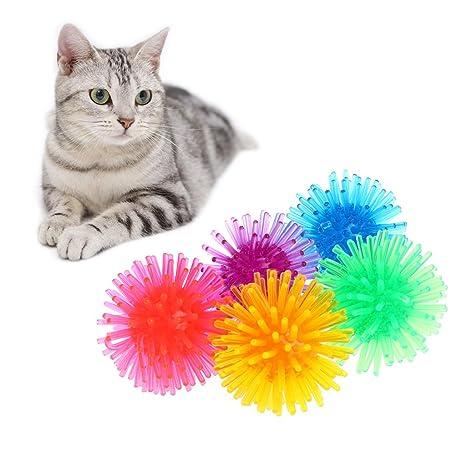 Haorw erizo pelotas para gatos, 5 unidades para begeistertes Jugar, color aleatorio