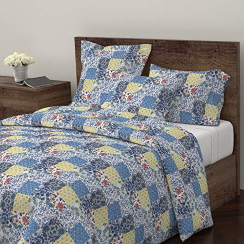 Roostery Blue Yellow Floral Cheater Quilt Duvet Cover Cheater Cheater Quilt Chintz Floral English Organic Kni by Ragan 100% Cotton King Duvet Cover
