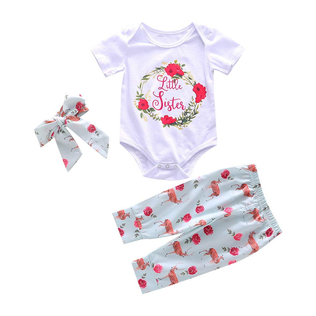 942d2bebf Amazon.com : ❤Ywoow❤ for 0-24 Months Baby Summer Romper, Girl Letter Floral  Printed Romper Sets Baby Romper+Deer Pants+Headband Outfits Set : Sports &  ...