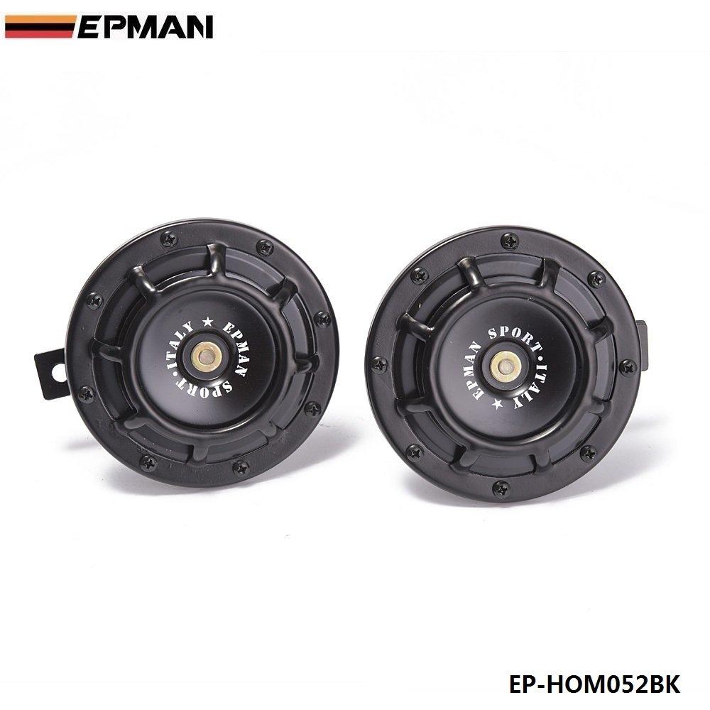 EPMAN 12V 110DB Universal Grille Mount Twin SuperTone Electric Car Horn For BMW Audi VW Car (Black, Pack of 2)