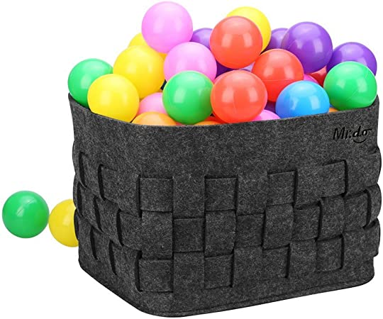 Mr.do Felt Basket Storage Basket in Dark Grey for Shelf Books Magazines Kids Toys or Firewood Organiser with Breathable Hand-weave Design