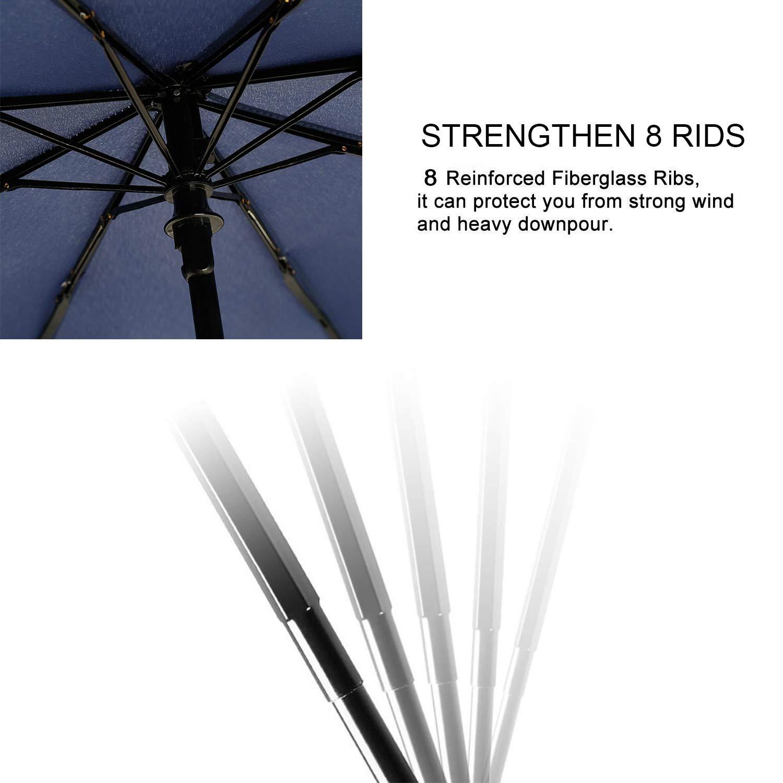 TradMall Travel Umbrella Windproof with Reinforced Fiberglass Ribs Large Canopy Ergonomic Handle Auto Open /& Close
