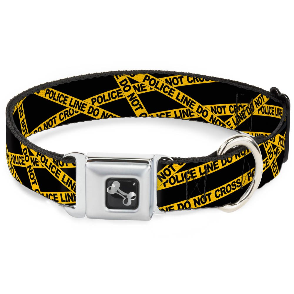 Buckle-Down Seatbelt Buckle Dog Collar Police Line Black Yellow 1  Wide Fits 9-15  Neck Small