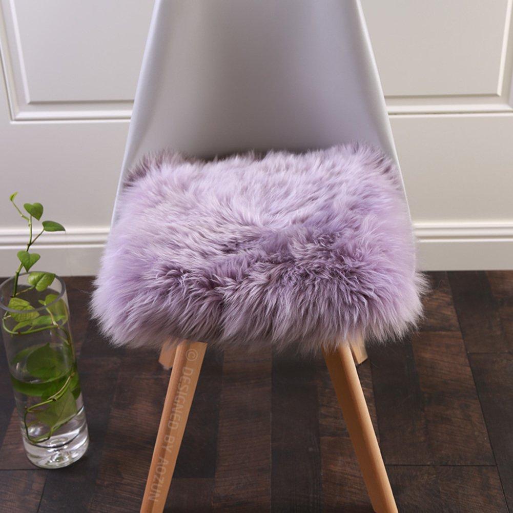 YQ WHJB Wool Seat Cushion,Winter Fluffy Deluxe Soft Square Sheepskin Universal Car Seat Cover Office Chair Pads Mat Sofa Cushioning Bay Window Pad-C 40x40cm(16x16inch)