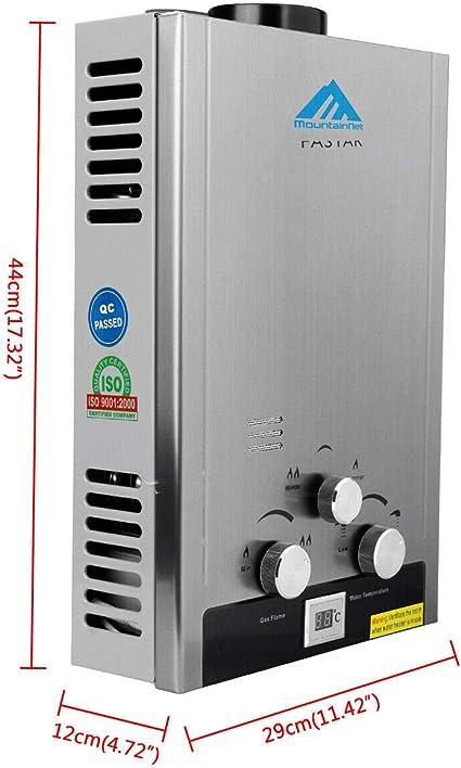 8L 2,1 GPM,16kW acero Inoxidable con Cabezal de Ducha con LCD Digital sin Tanque Calentador de Agua Instant/áneo a Gas Calentador de Agua LPG