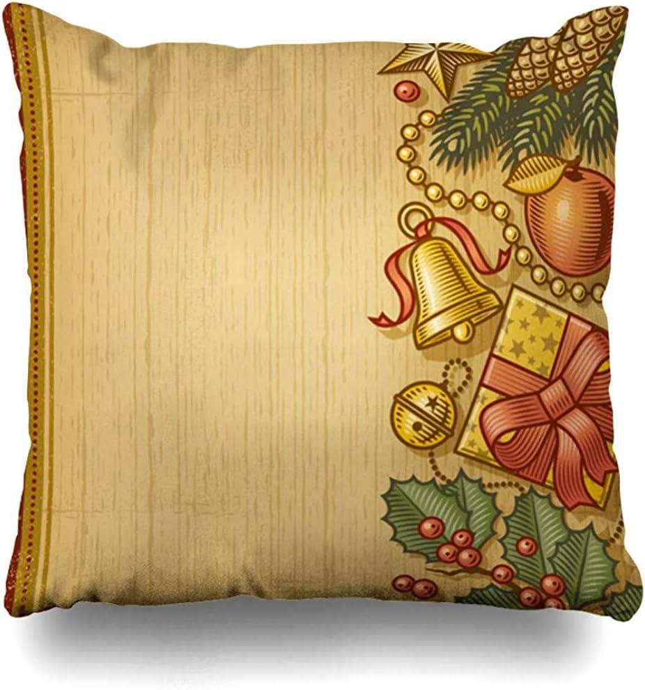 Fodera per cuscino da tiro Holly Bell Vacanze di Natale retrò Fiocco di mele Scatola di bacche Ramo Disegno Foglia Decorazioni per la casa Federa 50 X 50 Cm Federa