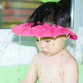 Baby Kids Soft Shampoo Bath Shower Cap Hat Waterproof Shield For Children  Pink