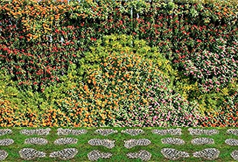 Laeacco Flower And Plant Wall Vertical Garden Photography Background 10x6 5ft Spring Colorful Flowers Leaves Wall Park Pathway Green Grassland Cobbled