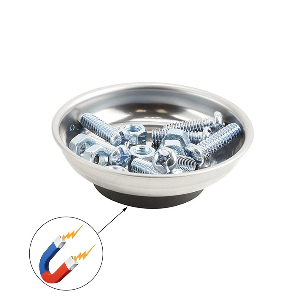Magnetic tools magnetic parts disc stainless steel magnetic bowl 6 inch magnetic parts bowl for nuts, bolts, small tools and other items.