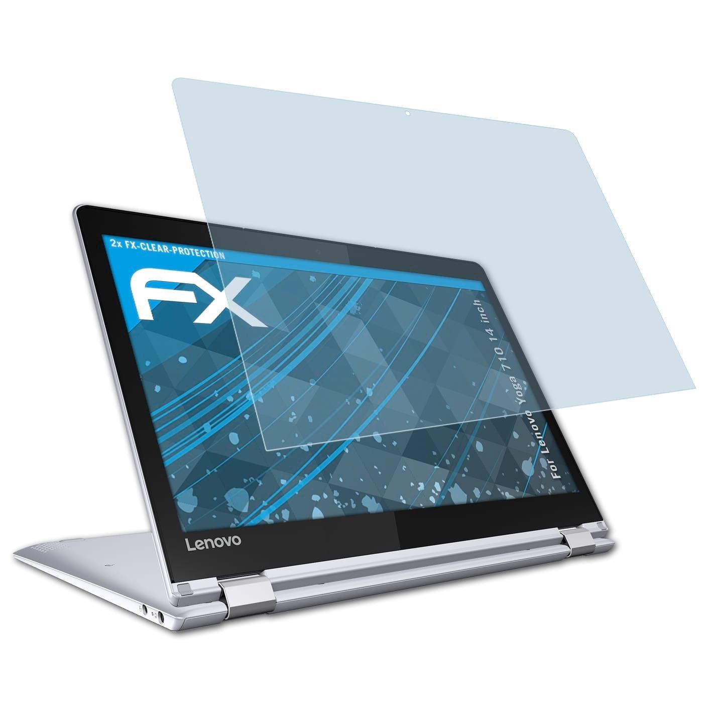atFoliX Lámina Protectora de Pantalla Compatible con Lenovo Yoga 710 14 Inch Película Protectora, Ultra Transparente FX Lámina Protectora (2X)