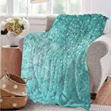 Luoiaax Turquoise Commercial Grade Printed Blanket Polka Dot Mosaic Queen King W80 x L60 Inch