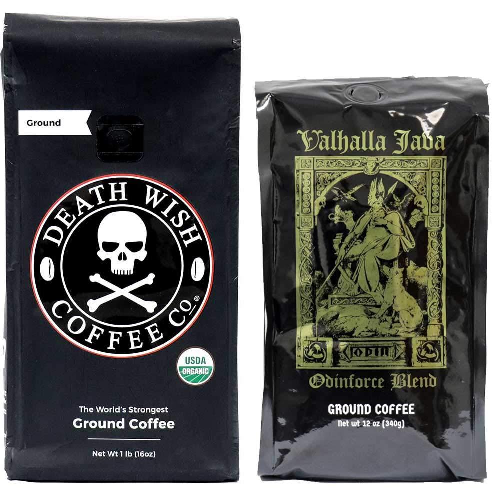 Death Wish & Valhalla Java Ground Coffee Bundle Deal, USDA Certified Organic & Fair Trade (1 of Each Bag) by Death Wish Coffee Co.
