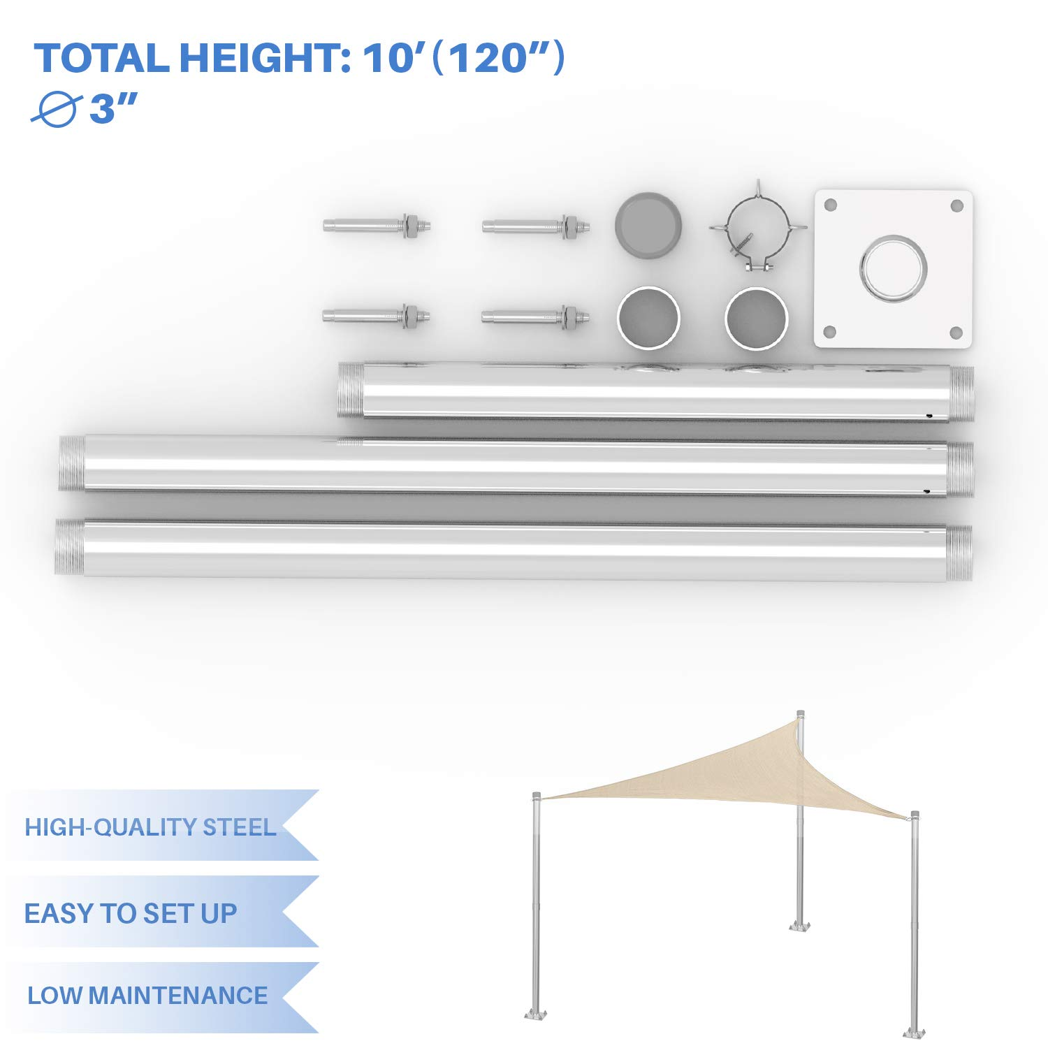 E&K Sunrise Sun Shade Sail Metal Pole Stand Post Heavy Duty Awning Canopy Support Poles φ3'' Fence Post Galvanized Steel Pole 10' Feet Tall (120'') by E&K Sunrise