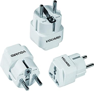 VGUARD 3 Pizas Adaptador Enchufe UK a EU, Adaptador Enchufe Inglés ...