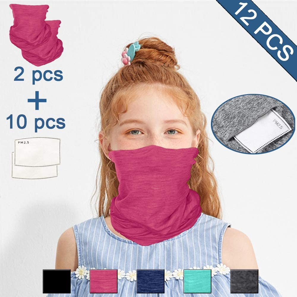 Neck Gaiter Face Scarf Bandanas with Safety Carbon Filters,Dustproof Lightweight Windproof Breathable 12 PCS