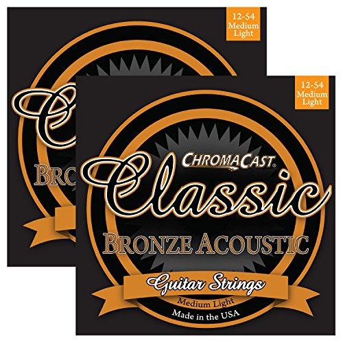 ChromaCast CC-GS-CB-ML-2PACK Classic Bronze Medium-Light Acoustic Guitar Strings, .012-.054, 2-Pack