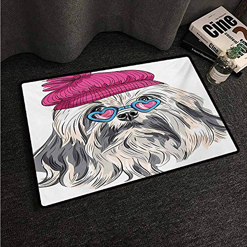 (HCCJLCKS Door mat Indie Lion Bichon Lowchen Breed Cute Dog with Heart Shaped Glasses and French Hat Print Super Absorbent mud W24 xL35 Grey Pink Blue)