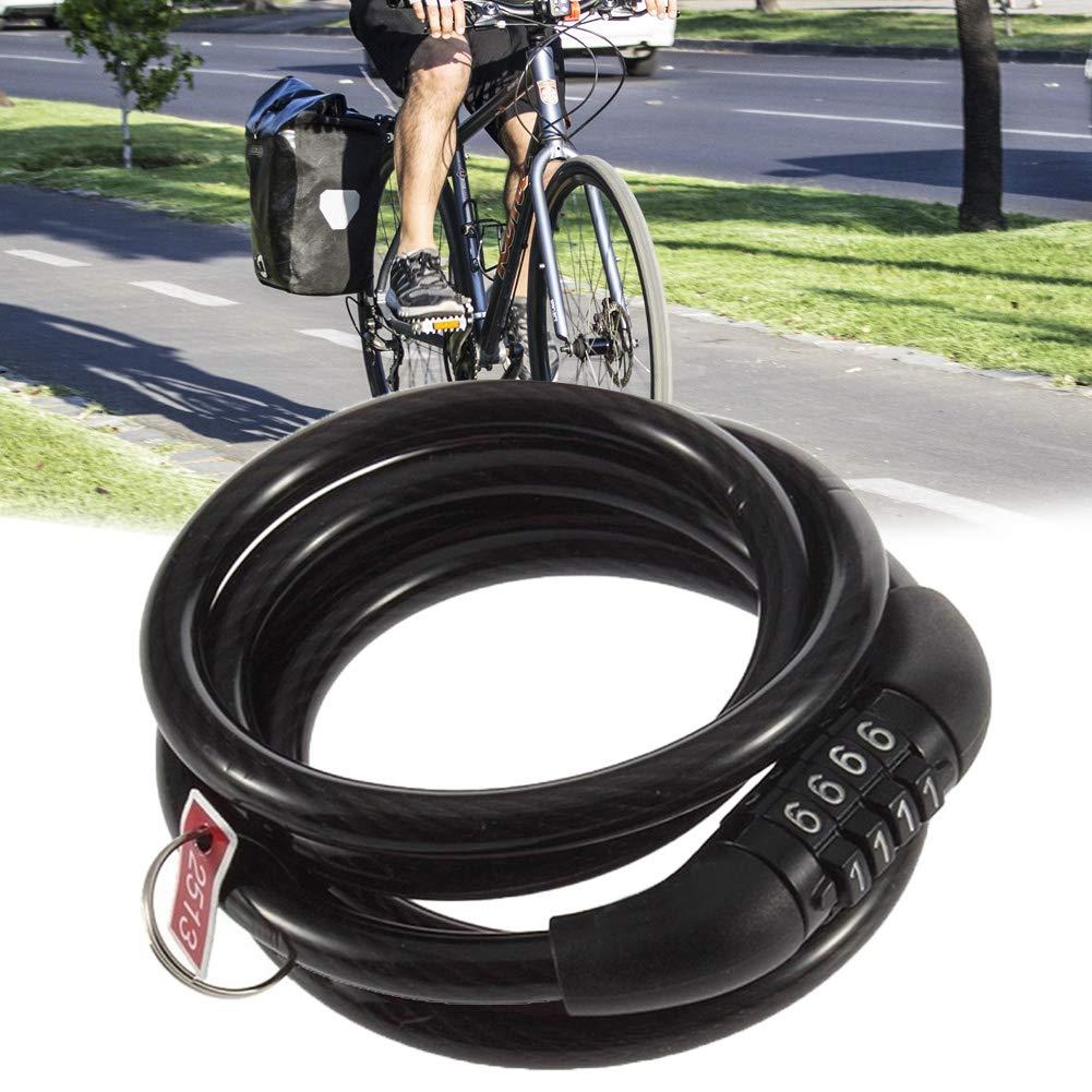 Brightstars88 candado para Bicicleta de monta/ña con combinaci/ón de 4 d/ígitos y contrase/ña de Seguridad