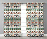Thermal Insulated Blackout Grommet Window Curtains,Mexican,Latin American Cultural Native Borders Indigenous Saguaro Sombrero Tequila Bottle Decorative,Multicolor,2 Panel Set Window Drapes,for Living