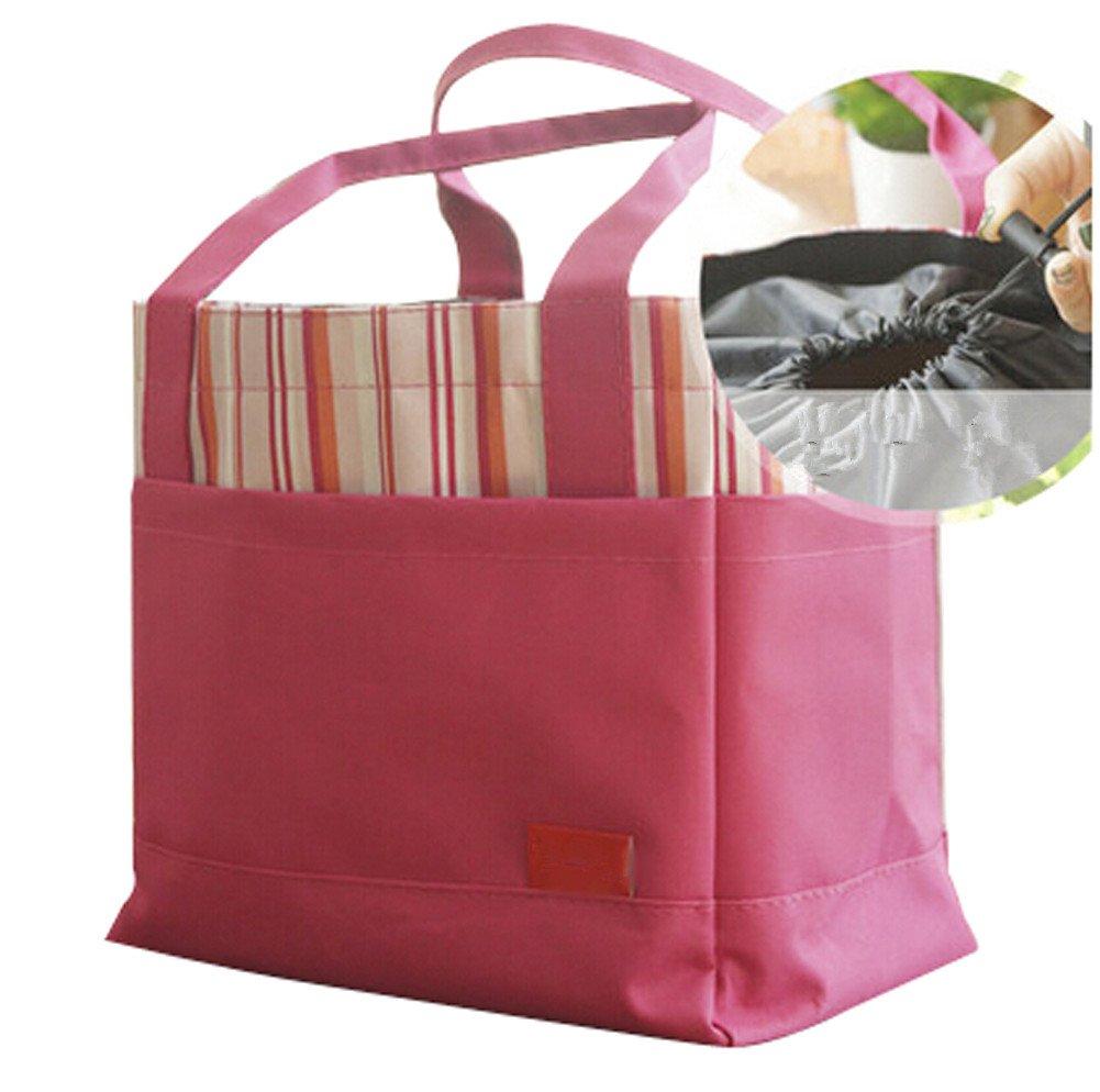 Ecokaki(TM) Fashion Striped Lunch Bag Picnic Bag Tote Travel Lunch Box Sack Storage Carry Case Bag, Rose
