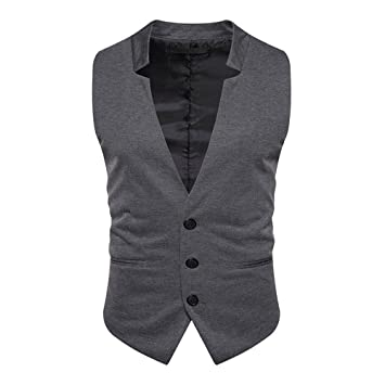 hmjnklm Men s Casual Traje Chaleco, Men s Pure Color Traje ...
