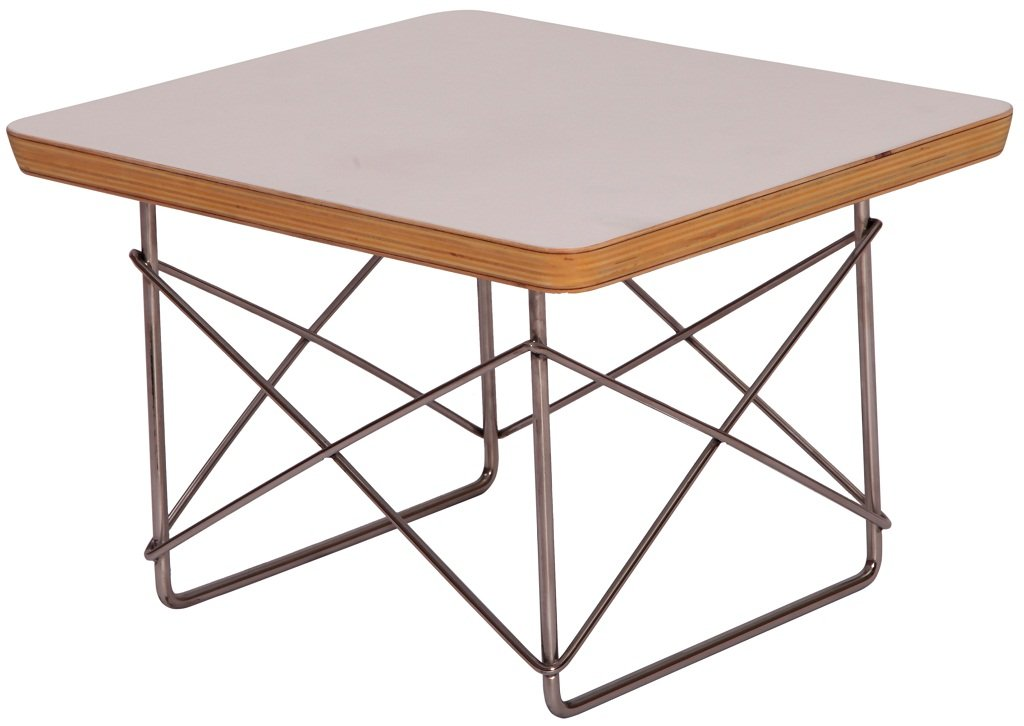 MLF Wire Base Low Table. Solid Structure. White Laminated Plywood Smooth Top, Stainless Steel Rod Base for Firm & Durability.