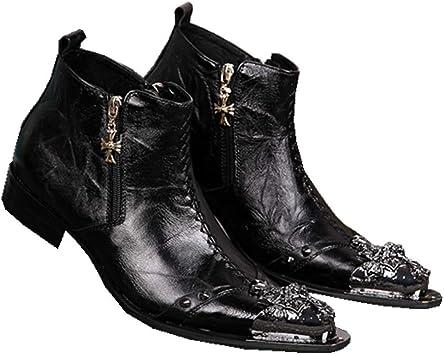 ZPML Cowboy Hombres Tobillo Botas de Vaquero Cuero Botines ...