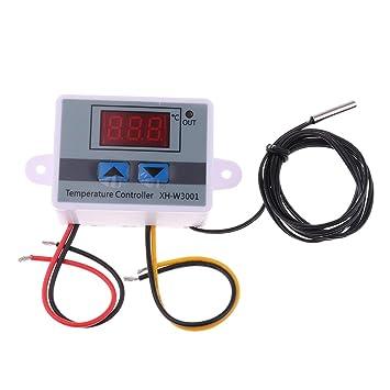 MagiDeal Controlador Microordenador 220V Control de Temperatura Termostato Interruptor Digital Sonda 120W