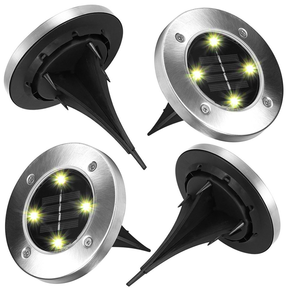 Anmete 4Pcs 4 LED Solar Garden Light Waterproof Ground Security Lights Landscape Lamp Decorative Lights for Lawn Pathway Yard Driveway Patio Walkway Stairway Pool Area Outdoor - Cool White