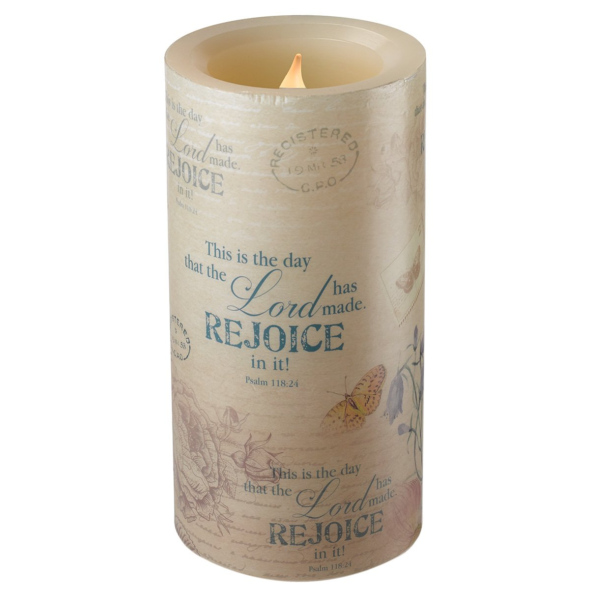 Floral Inspirations Collection Flickering Flameless Wax Pillar Candle (Medium 4 x 7 7/8 inch) - Psalm 118:24