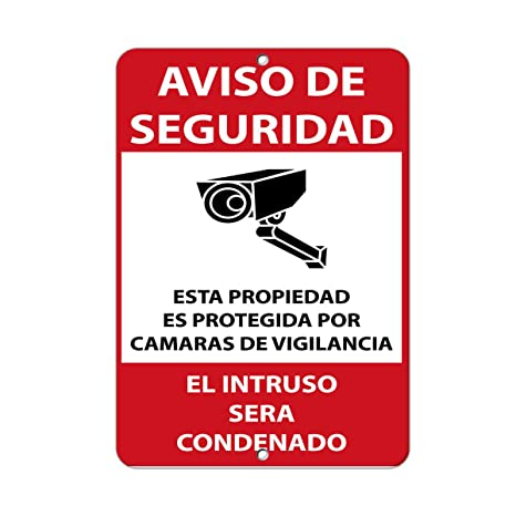 Security Notice Property Protected By Surveillance Camera Aluminum METAL Sign 9 in x 12 in