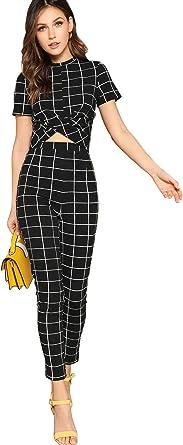 Amazon Com Shein Conjunto De Top De Manga Corta Y Pantalones Ajustados Para Mujer Clothing