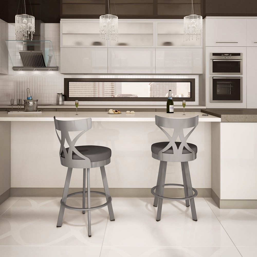 Amazon.com: Washington Swivel Counter Stool In Glossy Grey Finish: Kitchen  U0026 Dining
