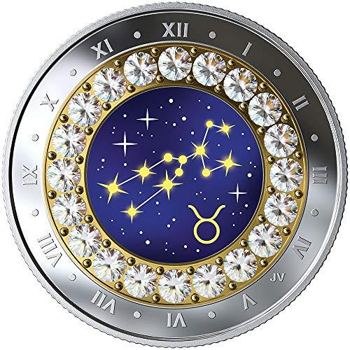2019 CA Canada Zodiac 2019 PowerCoin TAURUS Zodiac Swarovski Crystal Silver Coin 5$ Canada 2019 Proof