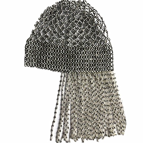 2018 New Handmade Beaded Hat Pub/DJ Hair Accessory Egyptian Cleopatra Belly Dance Beaded Cap Wig Headpiece Without Fringe Design(Silver) -
