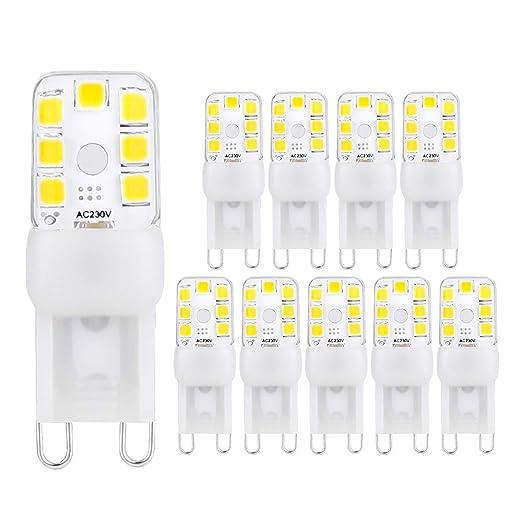 ELINKUME 10 Piezas Bombilla LED G9 blanca cálida, Bombilla LED no regulable de 2W G9