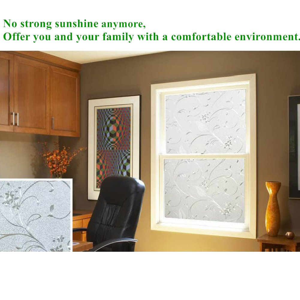 Mikomer Privacy Window Film Wheat Static Cling Glass Door Film, Non Adhesive Window Cling/Removable/Heat Control/Anti UV for Office and Home Decoration,17.5In. by 78.7In. by Mikomer (Image #6)