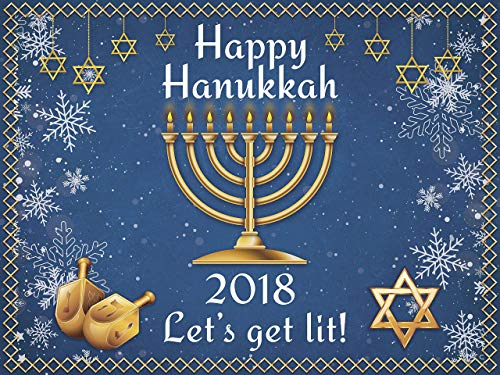 Happy Hanukkah Holiday Party Banner Lets Get Lit Concept with Menorah And Dreidel Design Backdrop Jewish Star and Snowflakes for Chanukah Handmade Party, Poster Print size 24x36, 48x24, 48x36, 24x18