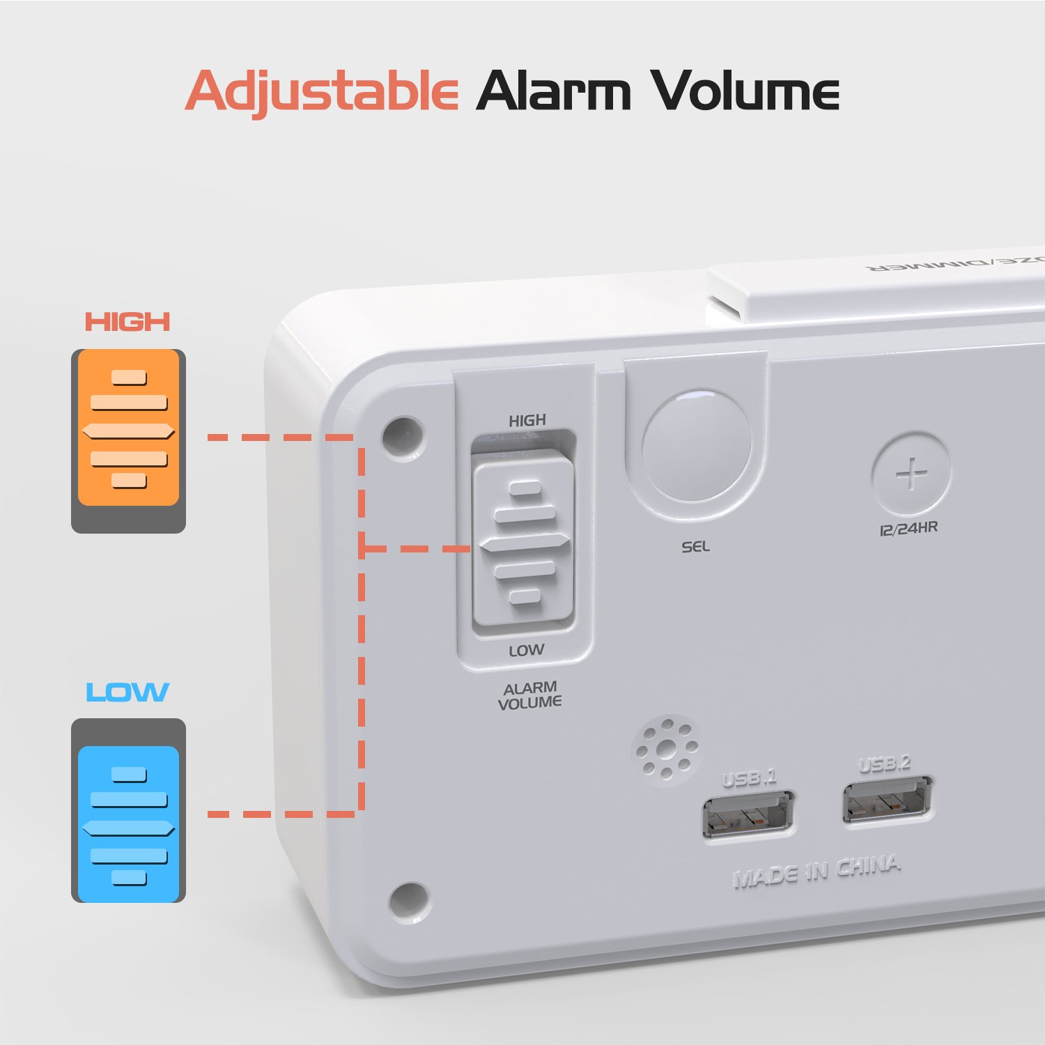 Moko Led Alarm Clock With 89 Large Display Usb Ports Snooze Jumbo Power Saver Circuit Diagram Electricity Saving Devices For Homes Dimmer And Voice Control Battery Backup 12 24 Hours