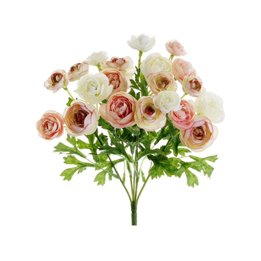 Amazon Allstate Mini Silk Ranunculus Bush In Pink Ivory 10