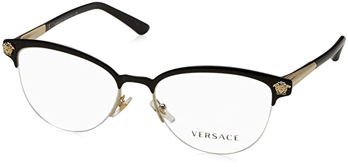 3154242ad0b67 Amazon.com  Versace Womens VE1235 1371 Black Metal Phantos ...