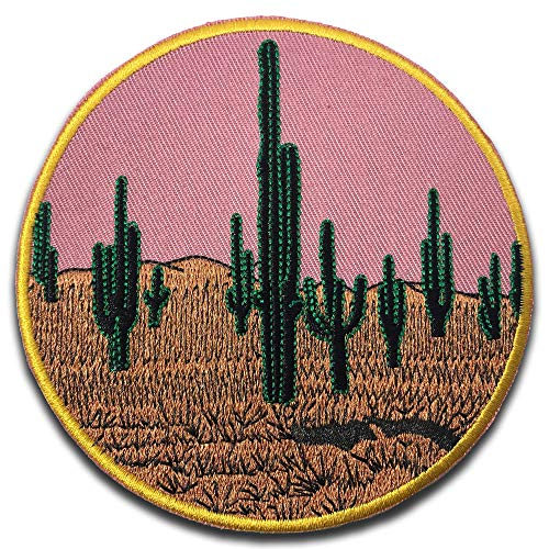 EncycloArt, Pink Desert Cactus Sunset,Iron-On Sewn-On Embroidered Patch