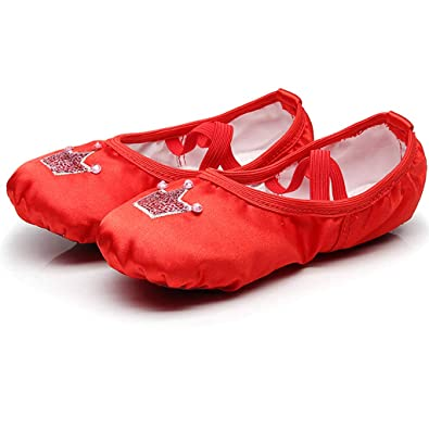 32209313280e8 DoGeek Ballet Shoes Women Satin Ballet Pumps Dance Gymnastic Ballerina Shoes  for Adults and Children Red