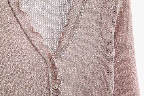 A Coprispalle Lunghe Corto Cardigan Con Taglia Donna Maglia Lavorato Guiran Maniche Nero Scollo A Leggero Unica V Pink Cappotto pHOxf5w5qd
