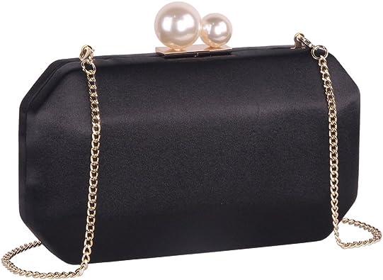 Womens Box Clutch Bag Ladies Evening Handbag Hardcase Satin Party Chain Designer