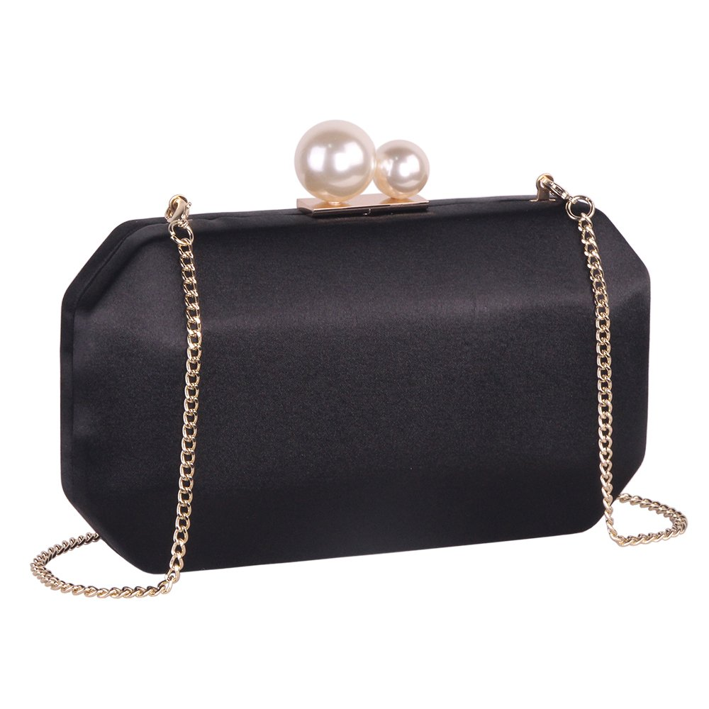 Black Satin Clutch Purse Handbags with Pearls Closure for Women, Crossbody Hardcase Evening Bag with Strap Chain for Party