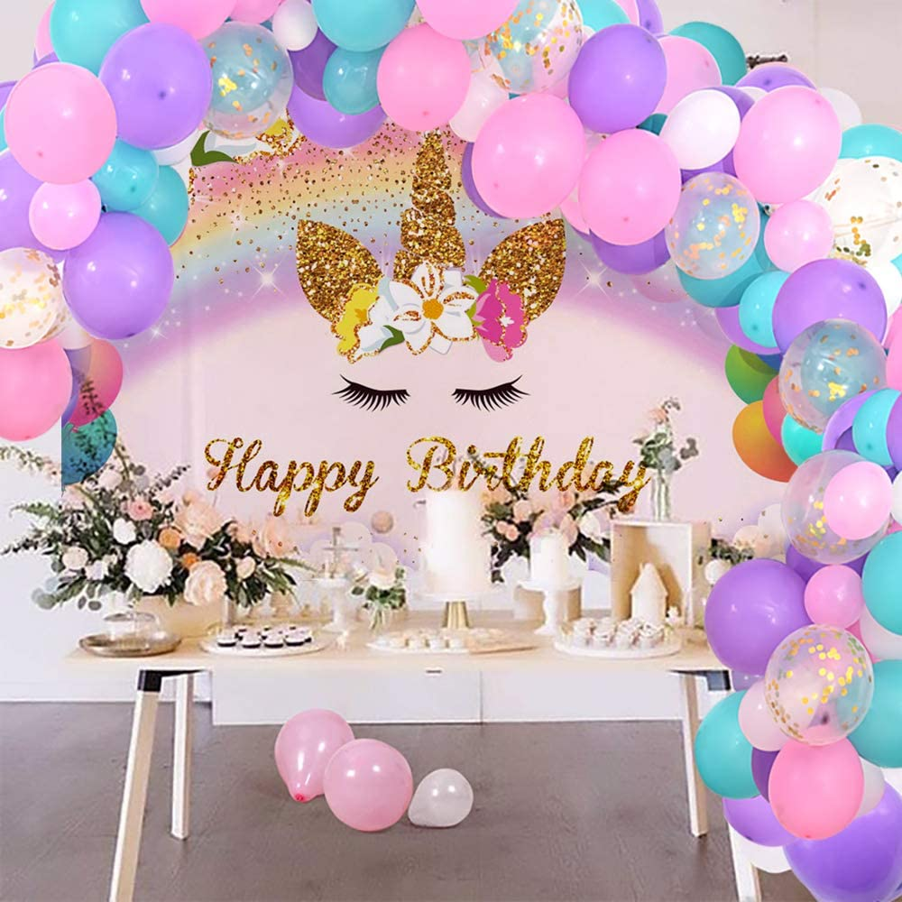 Unicorn Birthday Party Photo Backdrop with 12 5 Purple Pink Aqua Blue White Latex Balloons Unicorn Party Supplies Decorations Set for Baby Shower Unicorn Birthday Balloons Arch and 7x5ft Background Kit for Girls