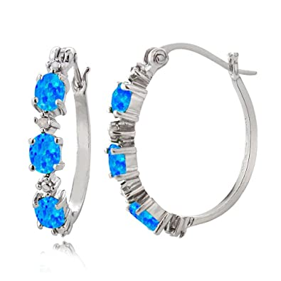 35b21b760 Amazon.com: Sterling Silver Created Blue Opal & Diamond Accent Oval ...