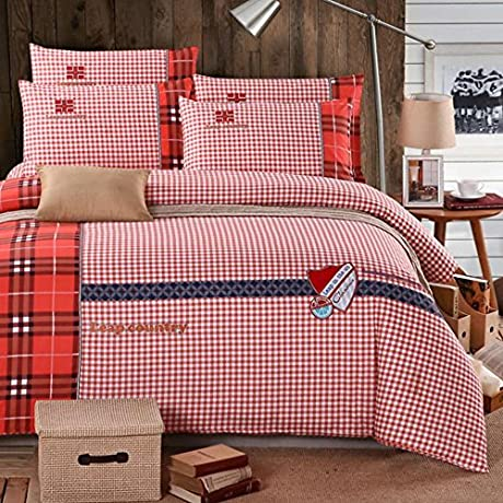 Red 4 Pcs Brushed Bedding Set Ultra Soft Kid Teens Adult Duvet Cover Set Xmas Gift Full Fitted Sheet Color 3